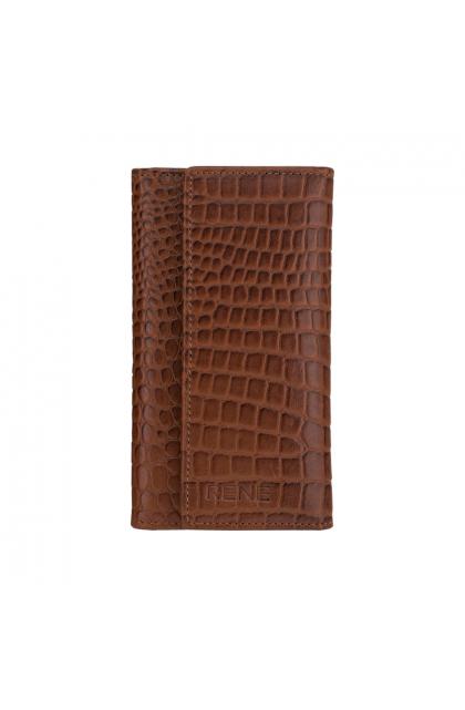 Sale  Rene Shiny Brown Genuine Leather Slim Key Case