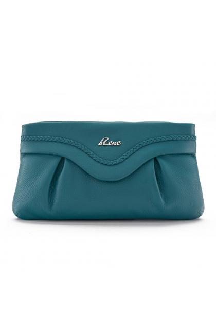 Light Blue Genuine Leather Women's Clutch