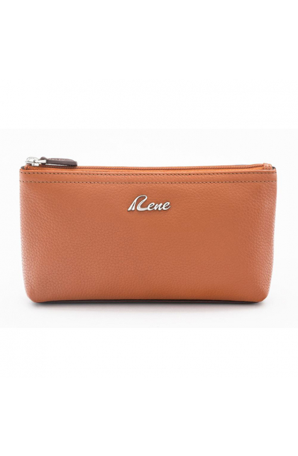 genuine Leather Tan Cosmetic Pouch