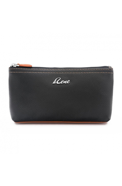 genuine Leather Black Cosmetic Pouch