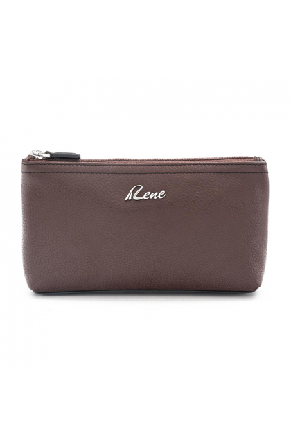 Genuine Leather Brown Cosmetic Pouch