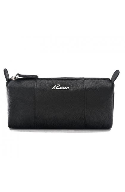 Genuine Leather Black Vanity Pouch