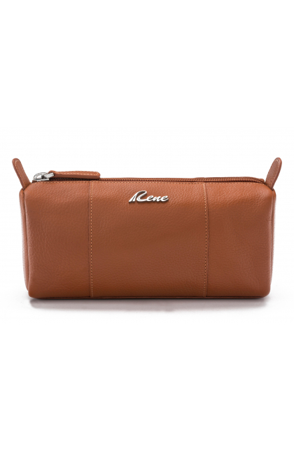 Genuine Leather Tan Vanity Pouch