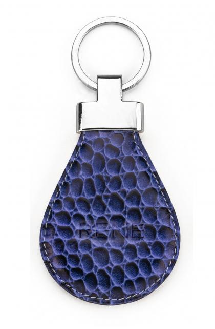 Blue Genuine Leather Key Ring