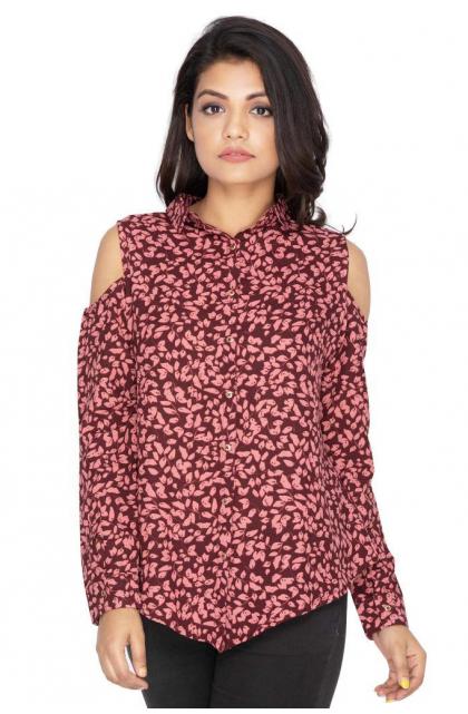 Maroon Georgette printed top