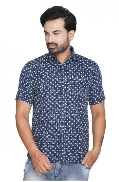 Indigo Cotton Printed Shirt
