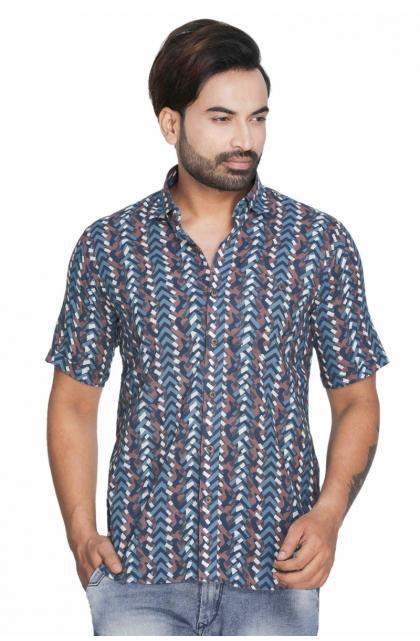 Blue Cotton Printed Shirt