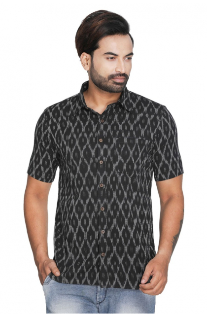 Black Cotton Ikkat Shirt