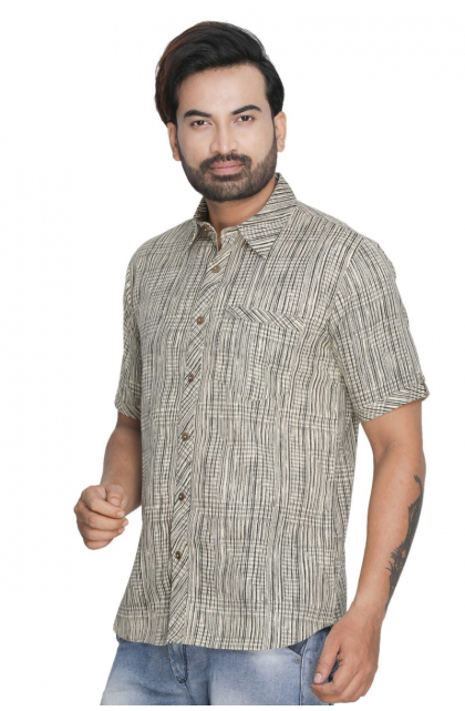 Grey Cotton Printed Shirt