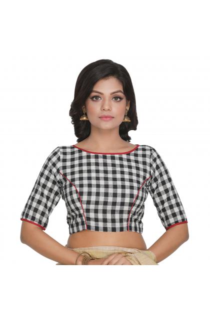 Multicolor Cotton Checkered Blouse