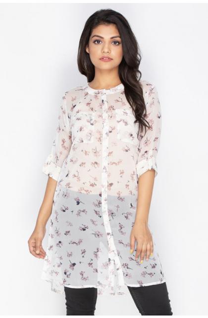 White Georgette Printed tunic