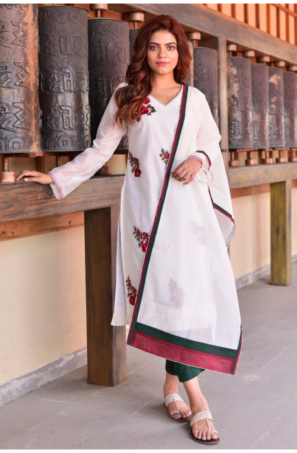 White Embroidered Chanderi Exclusive Trouser Set