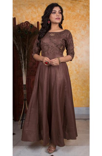 Brown Blended silk long dress