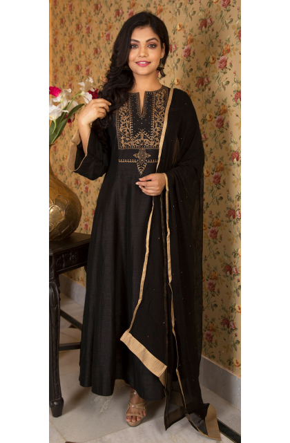 BLACK EMBROIDERED LONG Dress