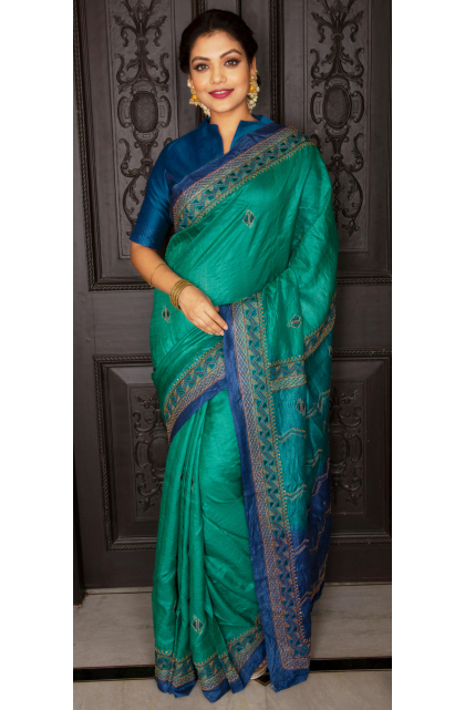 Green Tussar Hand Embroidered Saree
