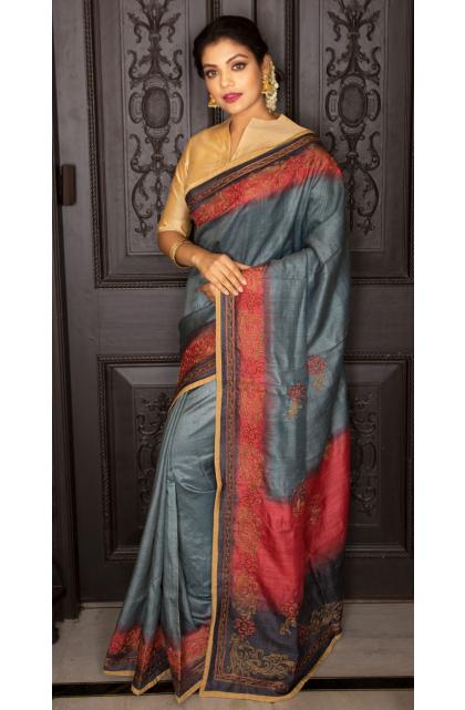Grey Tussar Hand Embroidered saree