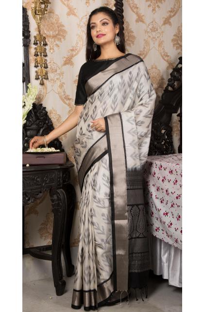 Grey Upara Silk Saree