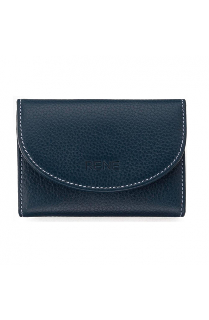 Blue Genuine Leather Slim Key Case