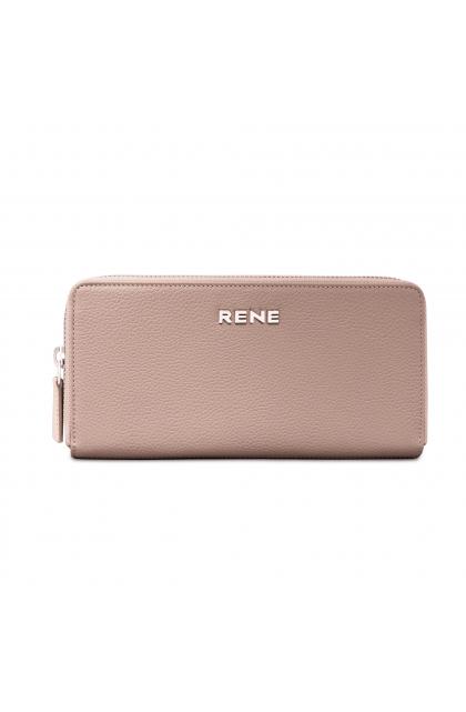 Genuine Leather Beige Zip Around Ladies Wallet