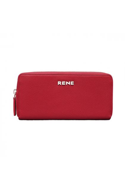Genuine Leather Red Zip Around Ladies Wallet