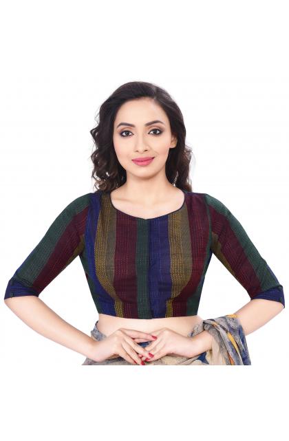 Multicolor Cotton Striped Dobby blouse