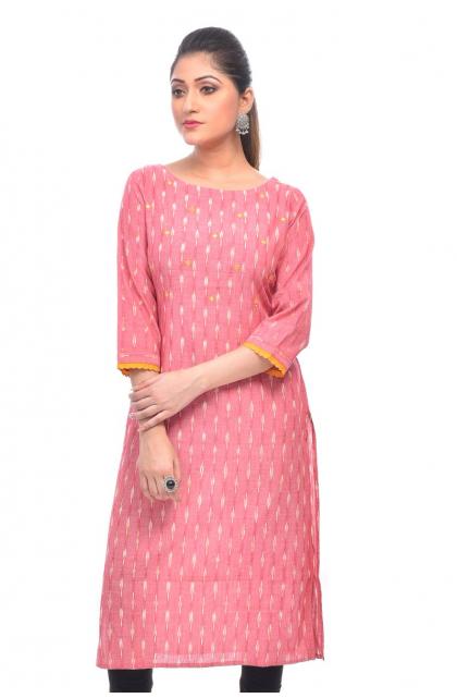Pink Cotton Ikkat Long Kameez
