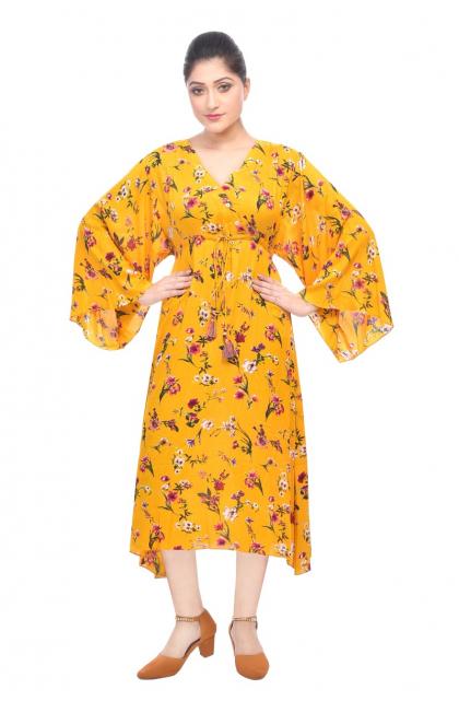Yellow Rayon Long Dress