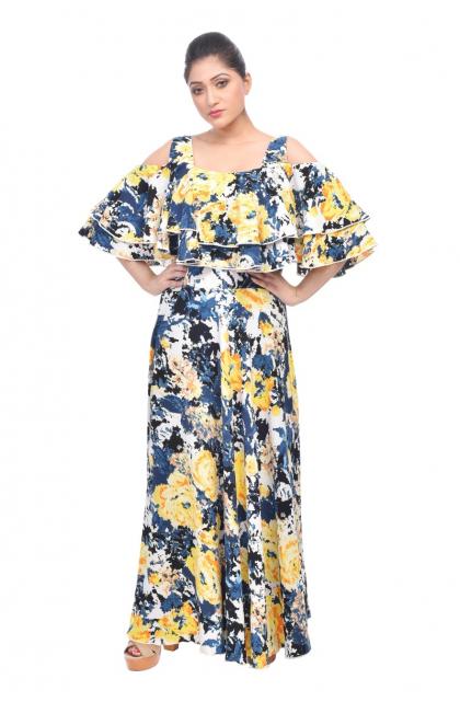 Multi Colour Georgette Long Dress