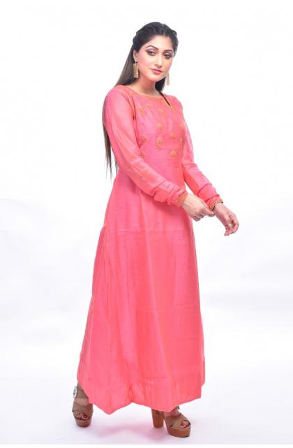 Pink Chanderi Embroidered Exclusive Long Kameez