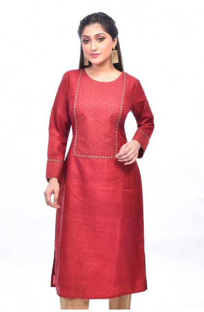 Maroon Embroidered Tussar Exclusive Long Kameez