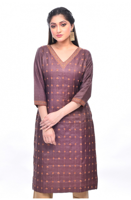 Brown Tussar Embroidered Exclusive Long Kameez