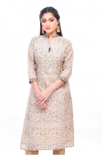 Off White Printed Tussar Exclusive Long Kameez