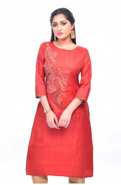 Red Tussar Embroidered Long Kameez