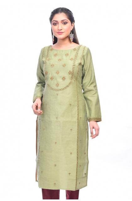 Green Chanderi Exclusive Long Kameez