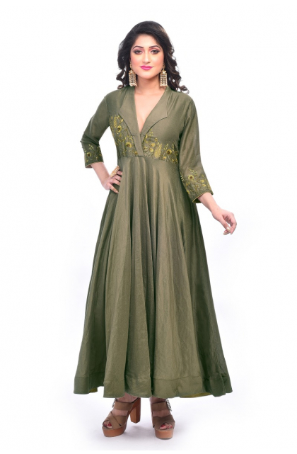 Green Blended Silk Embroidered Exclusive Long Dress