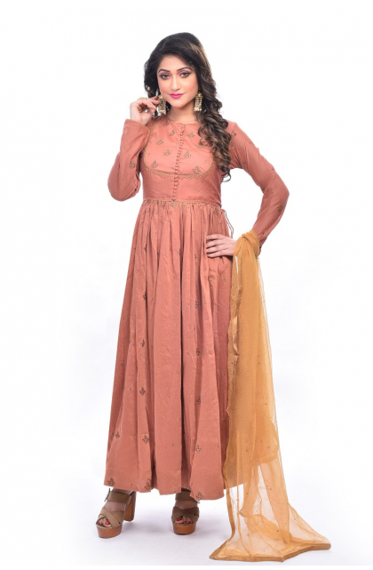 Rust Silk Blend Long Dress