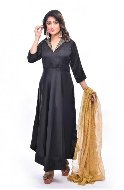 Black Blended Silk Long Dress
