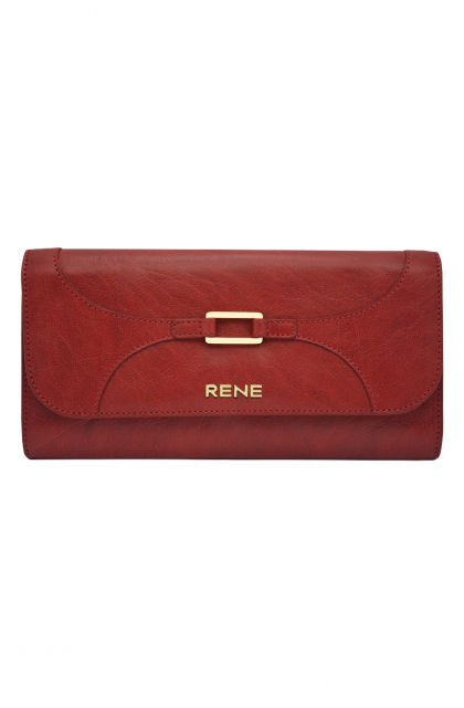 Genuine Leather Red Clutch