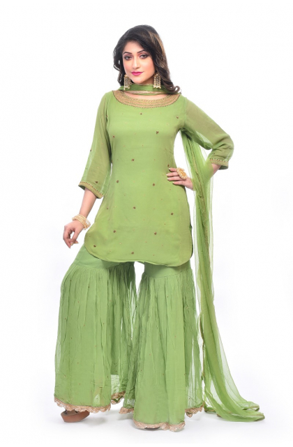 Green Georgette Exclusive Palazzo Set