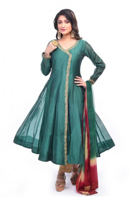 Green Chanderi Exclusive Anarkali Set