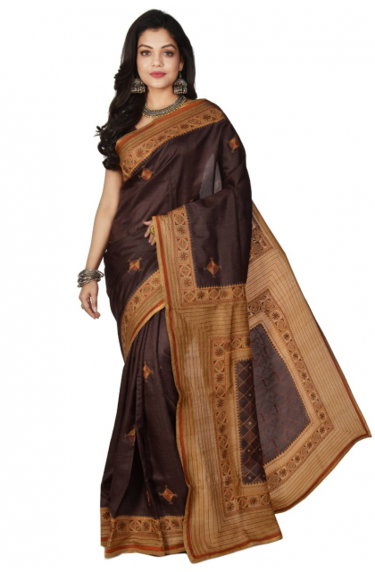 Brown Hand Embroidered Tussar Saree