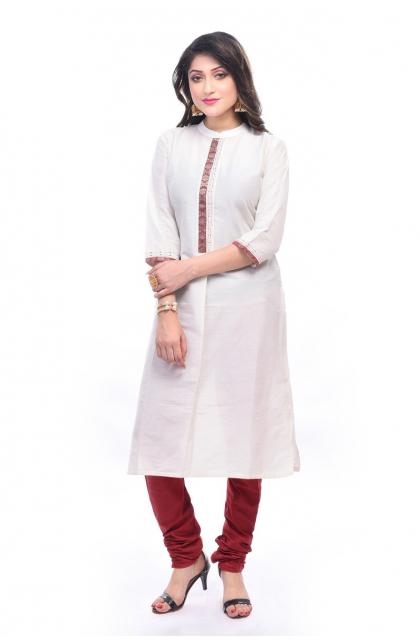 White Cotton Silk Exclusive Churidar Set