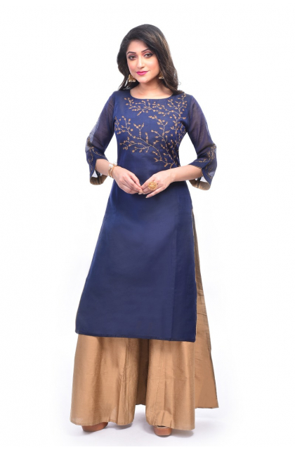 Blue Chanderi Embroidered Exclusive Palazzo Set