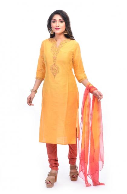 Yellow Embroidered Cotton Silk Exclusive Churidar Set