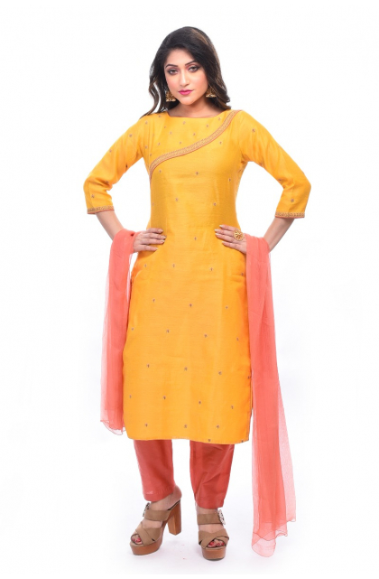 Yellow Chanderi Trouser Set