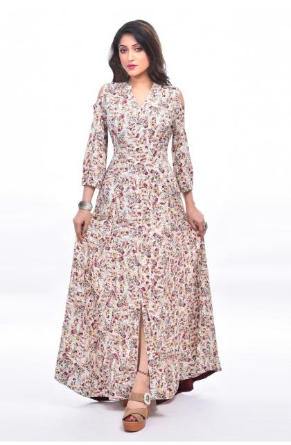 Multi Colour Rayon Long Dress