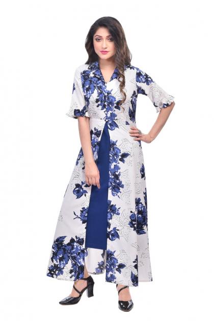 White Printed Crepe Long Dress