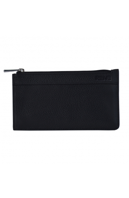 Rene Genuine Leather Black pouch with key chain