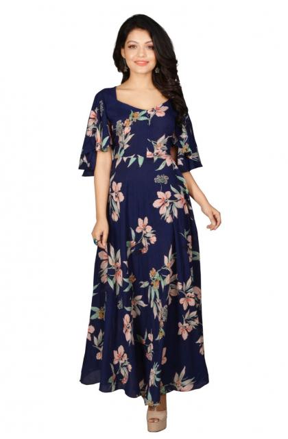 Blue Rayon Printed Long Dress