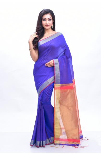Violet Cotton Handloom Saree